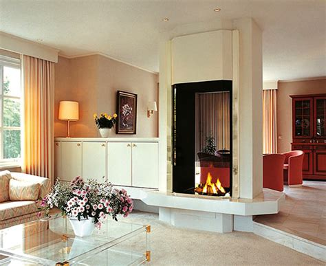 two room fireplace interior design with modern contemporary two sided