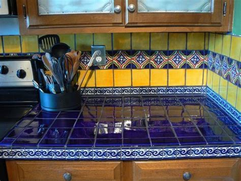 Blue Tile Kitchen Countertop by Blue Yellow Mexican Tiles Kitchen Countertop And
