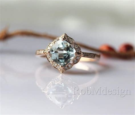 Wedding Ring Floral Design by 14k Gold Ring Stackable March S Birthstone Aquamarine