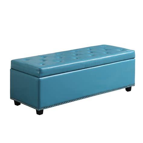 blue storage bench simpli home hamilton rectangular storage ottoman bench