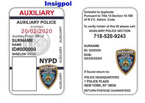 enforcement id card template credenciales policiales norteamericanas