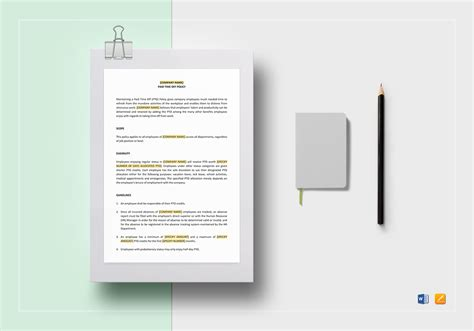 paid time policy template paid time policy pto template word docs