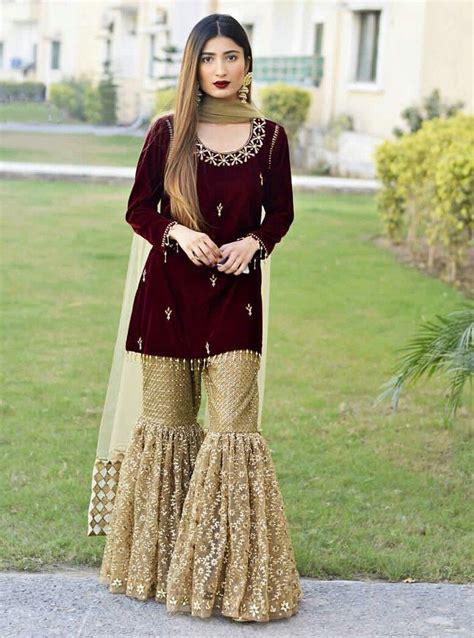 gold  velvet gharara pakistani outfits pakistan dress