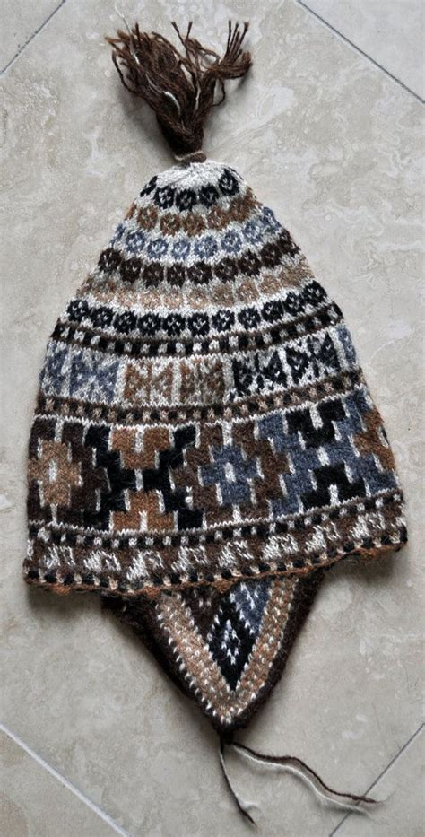 peruvian knitting incan cross alpaca knit earflap hat from peru