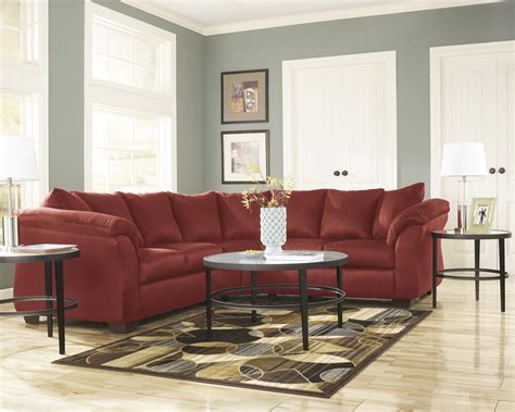 living room upholstery ashley darcy living room sectional 2pcs in salsa