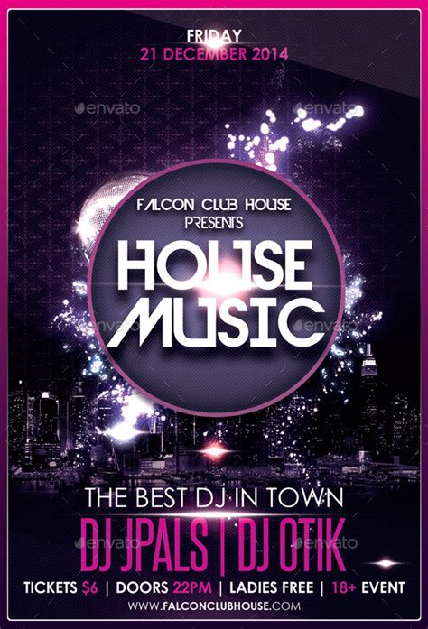 house music flyer house music party flyer by falconlabdesigns graphicriver