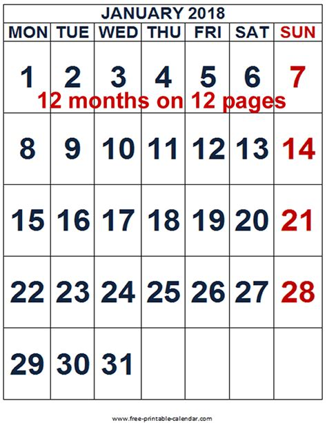 printable calendar 2018 large free printable 2018 calendar for free download free 12