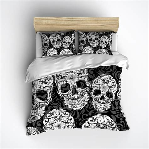 black white and grey bedding black white and grey sugar skull and scroll bedding ink and rags