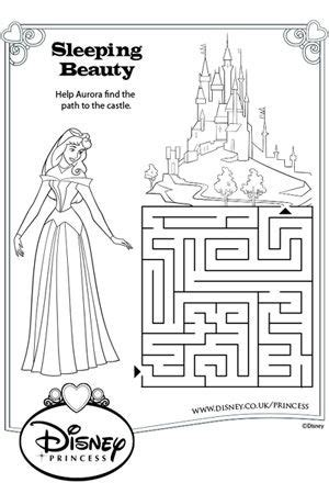 Princess Maze Coloring Page | aurora maze disney princess colouring pages pinterest
