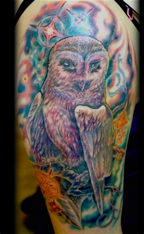 owl tattoo background owl tattoo arm sleeve with space and stars 171 inked