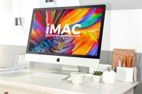 design poster on imac free designer workplace with imac mockup 2018