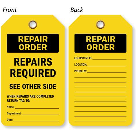 order tags industrial repair tags equipment repair tags