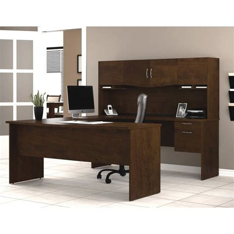Home Office U Shaped Desk Bestar Harmony U Shape Wood Home Office Set Chocolate