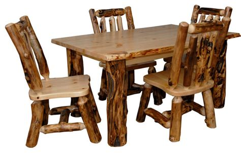 Rustic Kitchen Tables And Chairs Rustic Aspen Log Kitchen Table Set Table 4 Dining Chairs Rustic Dining Sets By Furniture