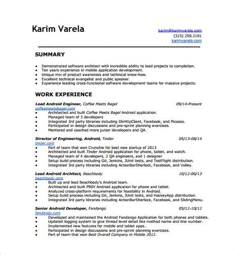 Resume Format For Excel Experience Android Developer Resume Template 10 Free Word Excel Pdf Format Free Premium