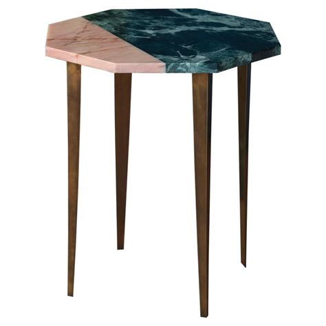 Pink Side Table Octagonal Side Table With Green And Pink Marble Top And Tapering Brass Legs For Sale At 1stdibs