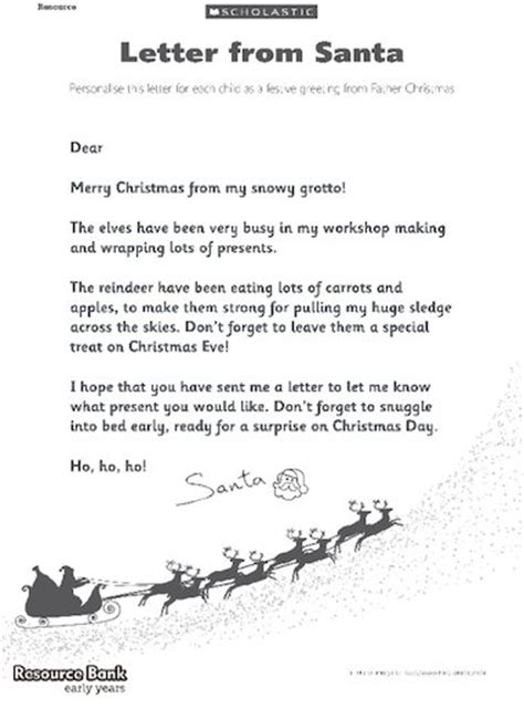 letter to santa template ks2 letter from santa free early years teaching resource
