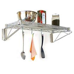 stainless steel wall mounted kitchen wire shelving units with hooks for small and narrow kitchen