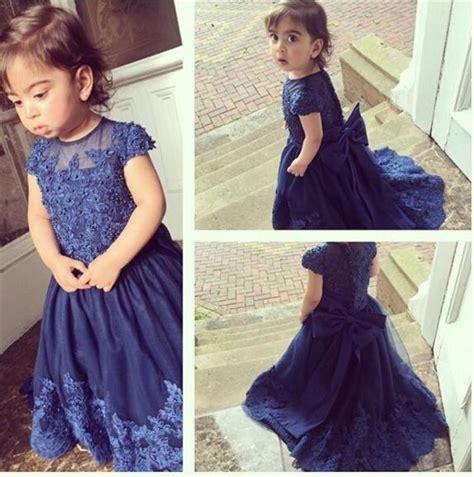 Cute Baby Girl'S Flower Girl Dress Uk Australia Sheer Neck Dark Navy Cap Sleeves Beads Applique