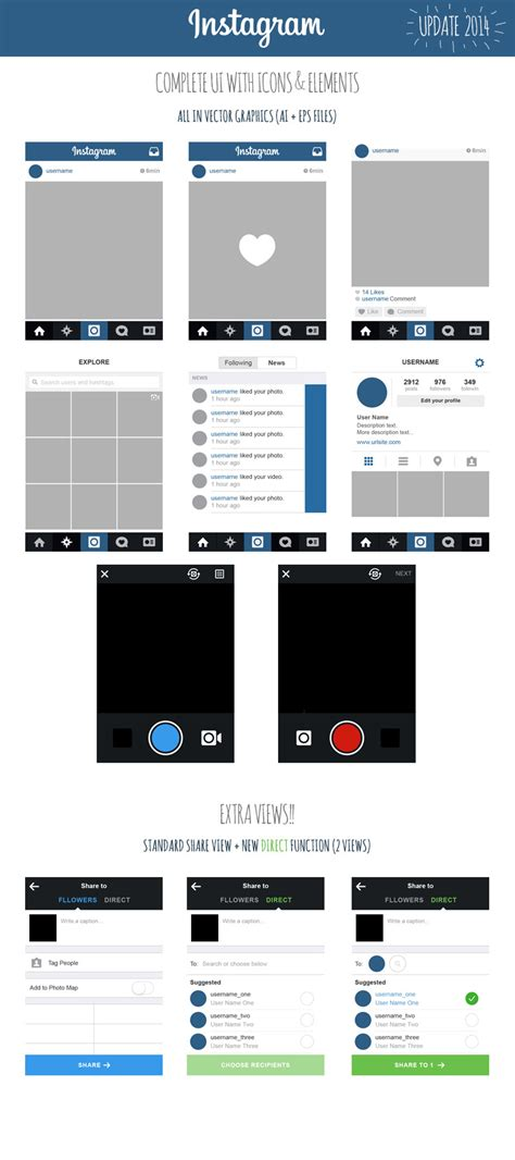layout instagram gratis free instagram ui ios7 2014 views icons elements on