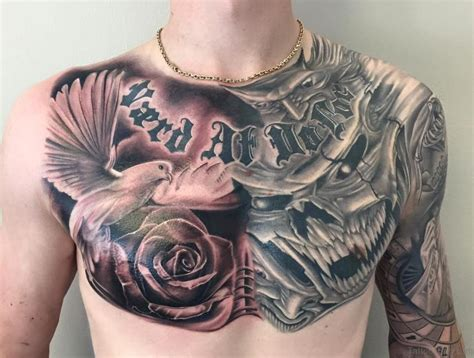 amazing chest tattoos dove designs on chest