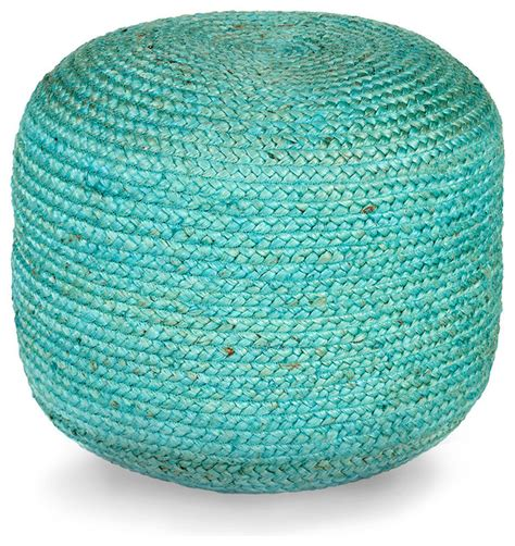 Teal Pouf Ottoman Jute Pouf Teal Contemporary Footstools And Ottomans By Bliss Home Design