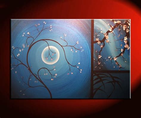Cherry Blossom Grasses Moon And Plum Blossom Painting | cherry blossom and floral art archives page 3 of 10