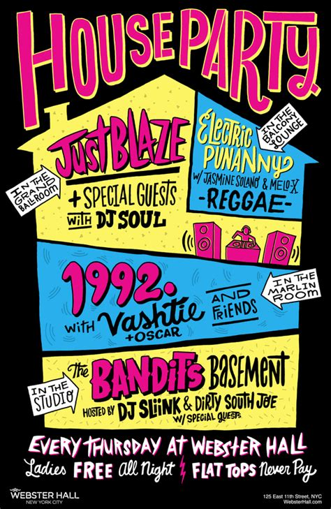house party flyers design webster hall presents quot house party quot featuring just blaze vashtie electric punanny
