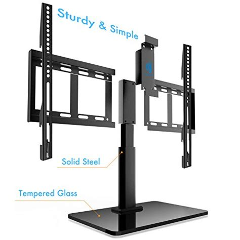 Tempered Glass Universal 4 45 47 55 universal table top tv stand for 32 to 60 inch tvs with 40