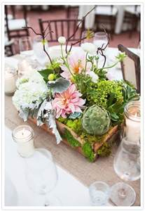 succulent centerpieces centerpieces in wooden box filled with white hydrangea mini green hydrangea dinner plate