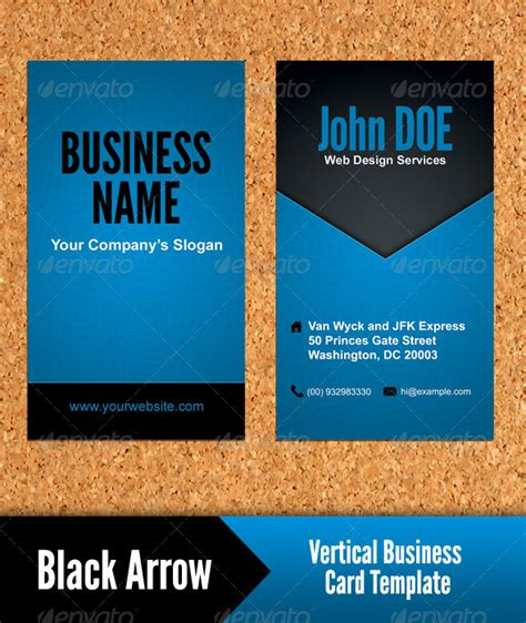 black arrow vertical business card template by
