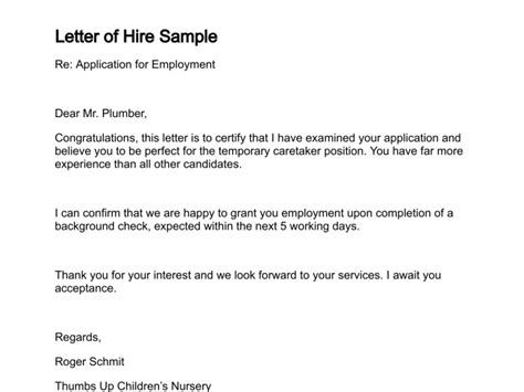 Employment Hiring Letter Template Letter Of Hire