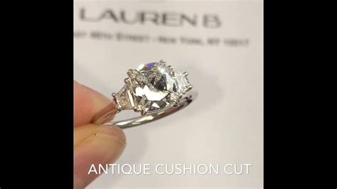 1.29 ct Cushion Cut Diamond 3 Stone Engagement Ring   YouTube