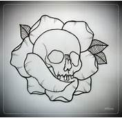 Skull And Rose Tattoos Outlines