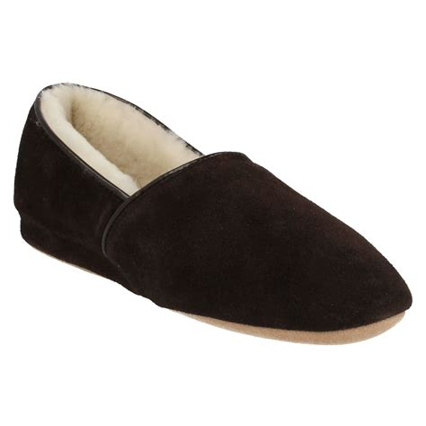 sheepskin lined slippers morlands mens sheepskin suede leather warn wool lined