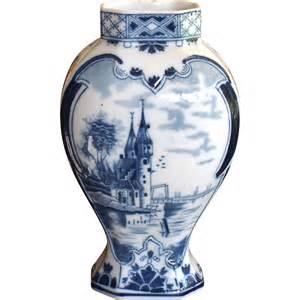 vintage blue on white delft vase with castle