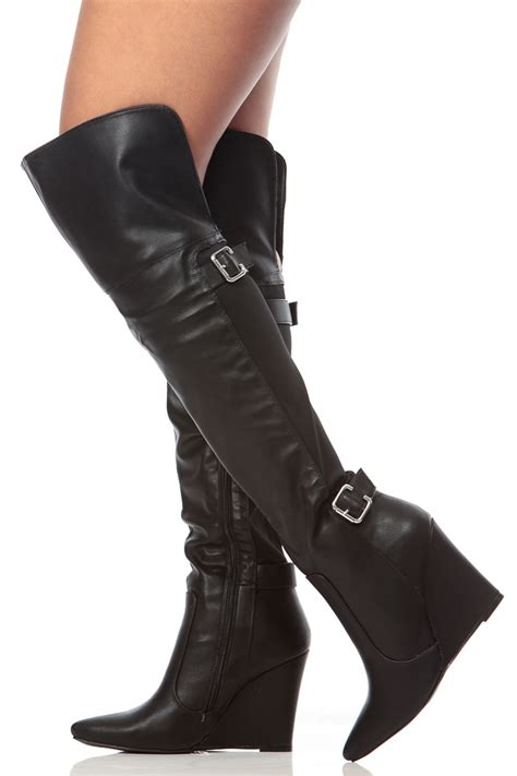 black faux leather pointed toe thigh high wedge boots