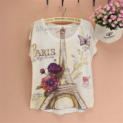pattern shirt fashion famous la tour eiffel pattern t shirt women fashion design