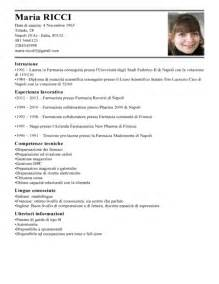 Curriculum Vitae Italiano by Modello Curriculum Vitae Farmacista Esempio Cv Farmacia