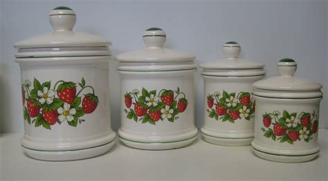 country kitchen canisters sears strawberry country kitchen canister set 4 total made in japan ceramic