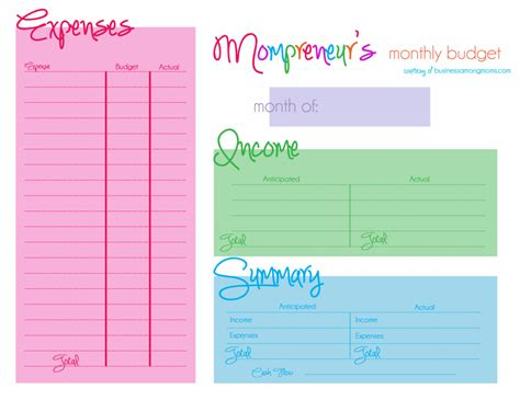 online printable budget planner mompreneurs learn how to budget your income and expenses