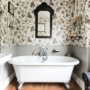 Bathroom Wallpaper Black And White White Bathrooms Toile Wallpaper And Bathroom On