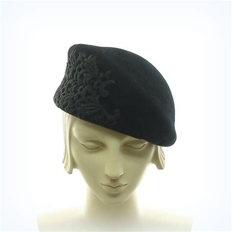 black beret hat for vintage style handmade hat