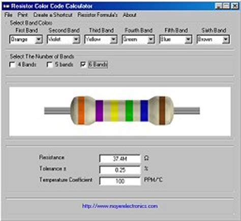 resistor colour code program free software moyer electronics
