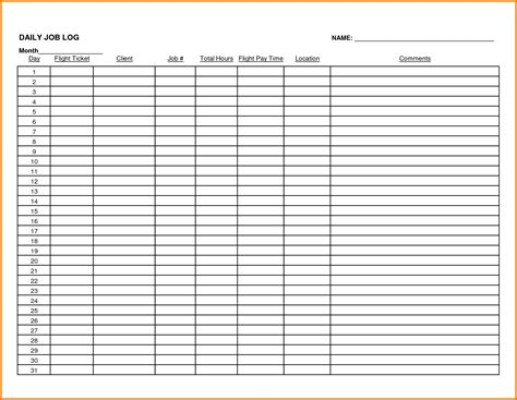 Receipt Log Template Excel by Daily Log Template Excel 5 Daily Work Log Receipt