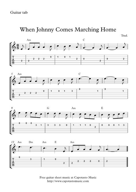 free easy guitar tab sheet when johnny comes