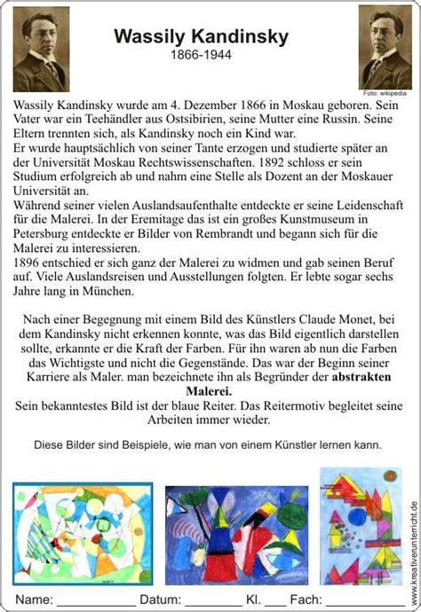 Lebenslauf Unterrichtsmaterial Wassily Kandinsky Lebenslauf Seine Ideen Nachgestalten