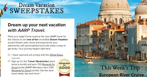 Aarp Sweepstakes Entry - win 1 of 10 trips from dream vacation sweepstakes from aarp points miles martinis