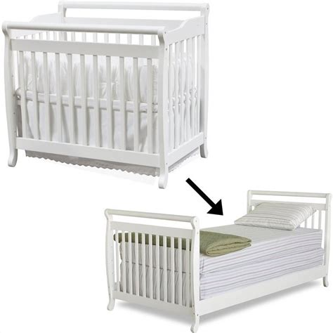 Baby Cribs With Mattress Included Davinci Emily Mini Convertible Wood Baby Crib Set W Size Bed Rail In White M4798w M4799w Pkg