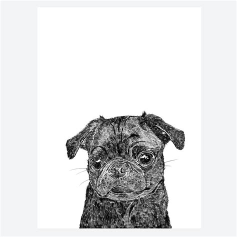 pug print black pug print by ros shiers notonthehighstreet